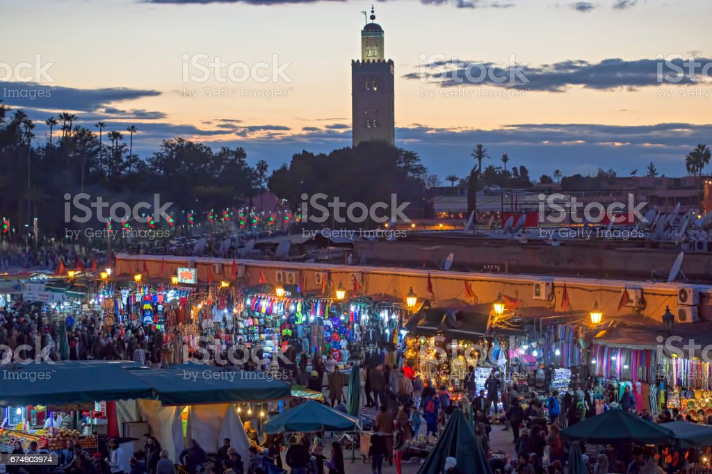 Marrakesh by night stock photo