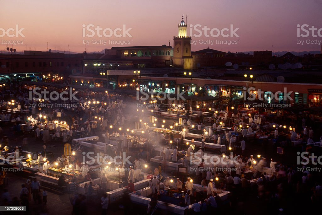 Marrakesh, Djemaa el Fna at Dusk stock photo