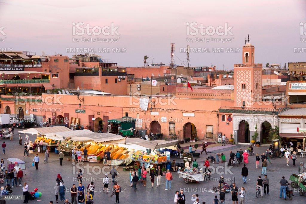 Marrakesh Djemaa el fna square stock photo