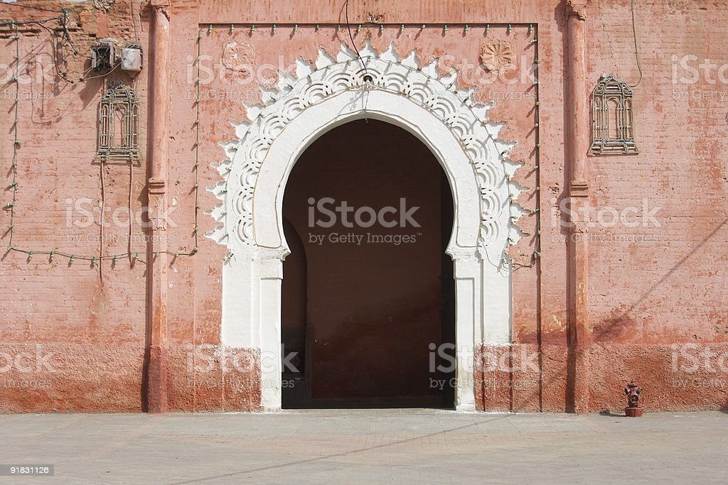Marrakesh medina decorated gate stock photo