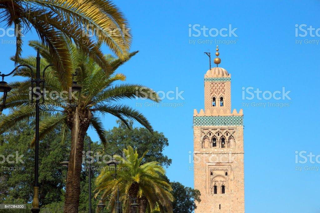 Marrakesh Morocco mosque palm tree stock photo