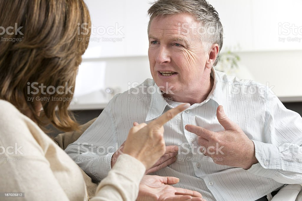 Marriage breakdown concept. Mature couple arguing royalty-free stock photo