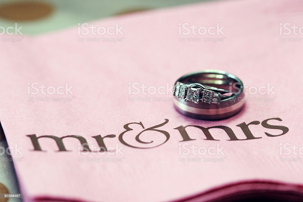 Marriage. Bride & Groom's Wedding Rings royalty-free stock photo