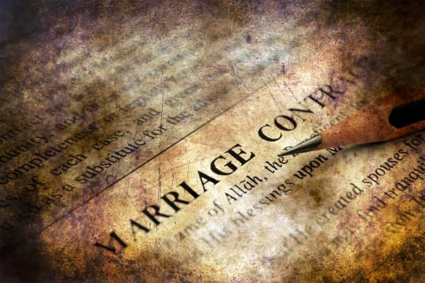 concept de mariage contrat grunge - mariage musulman photos et images de collection