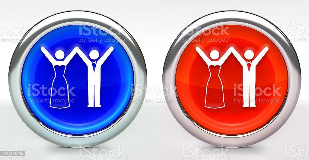 Marriage Icon on Button with Metallic Rim stock photo