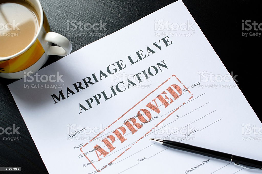 marriage leave application - approved royalty-free stock photo