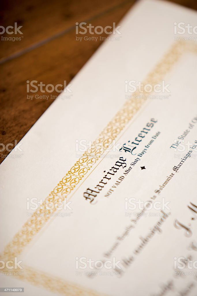 Marriage License royalty-free stock photo