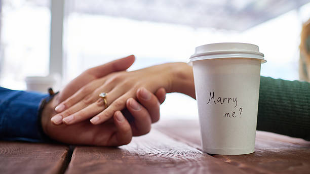marriage proposal - diamond ring hand stock photos and pictures