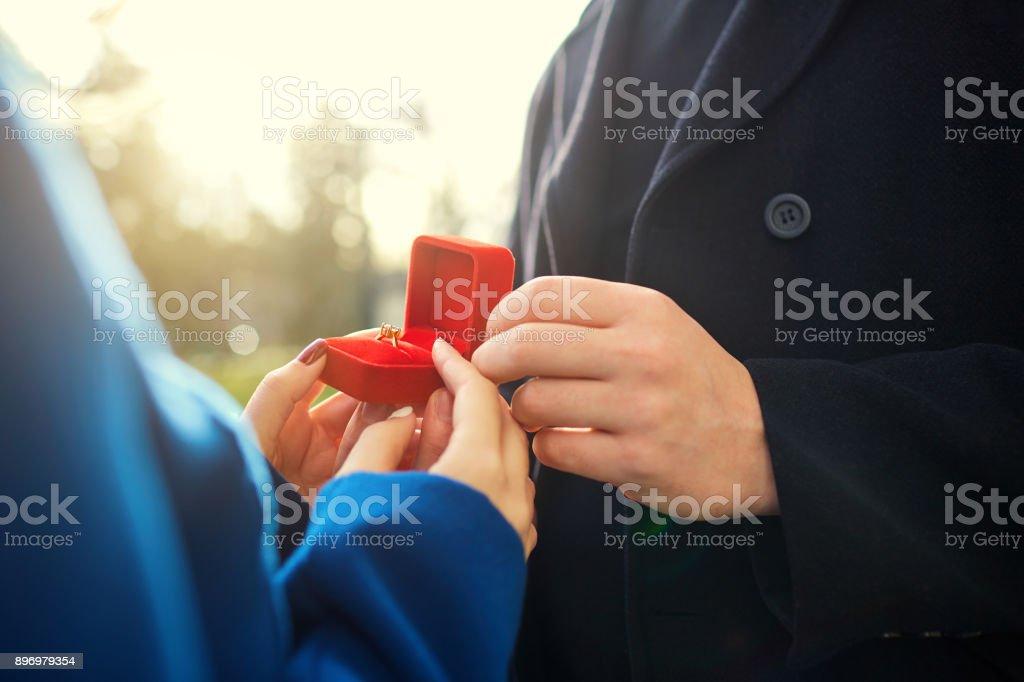 Marriage proposal. stock photo