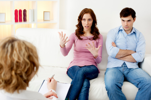 istock Marriage Therapy. Couple Talking to Counselor 185310055