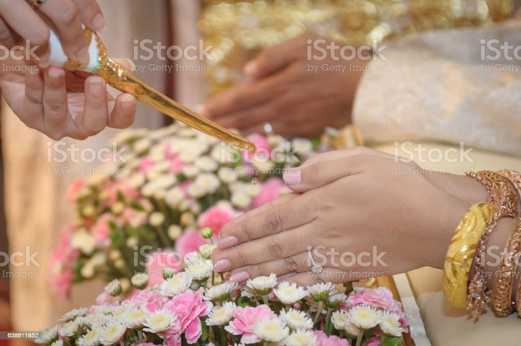 Marriage water relaunch, Thai tradition. stock photo