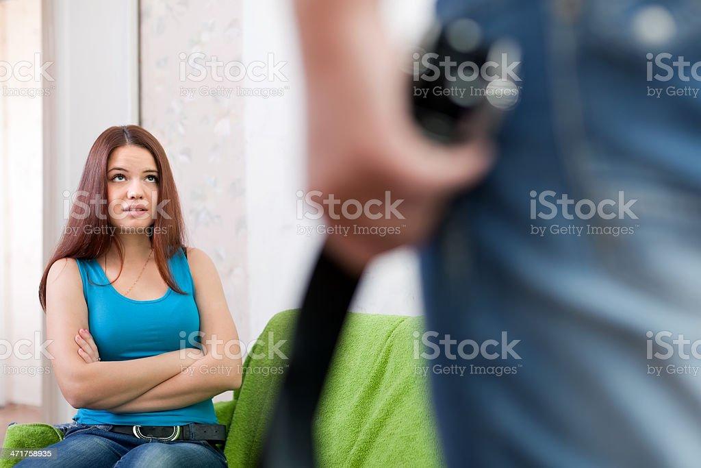 Married couple having quarrel royalty-free stock photo