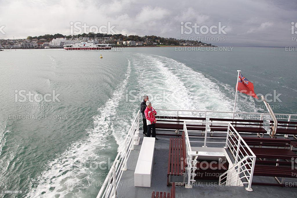 married couple of ferry in Solent, UK stock photo
