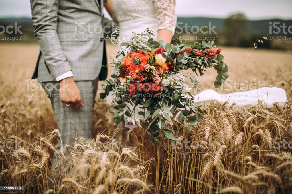 Married Couple On Wheat Field stock photo