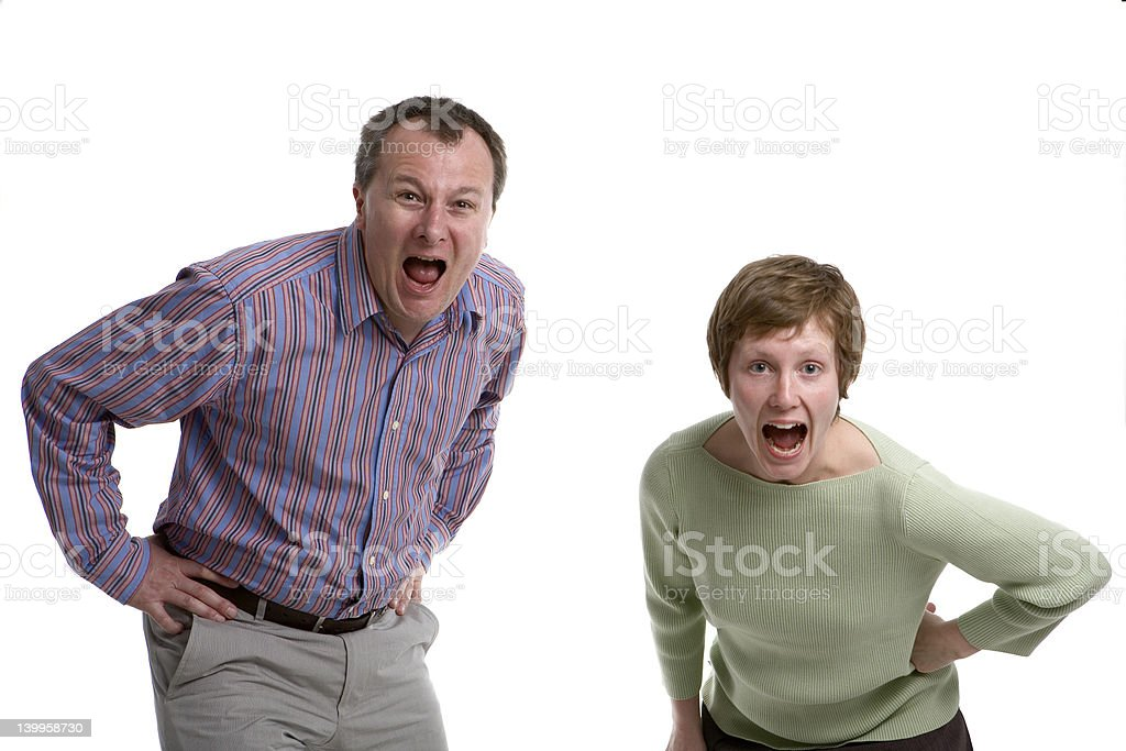 Married couple shouting royalty-free stock photo