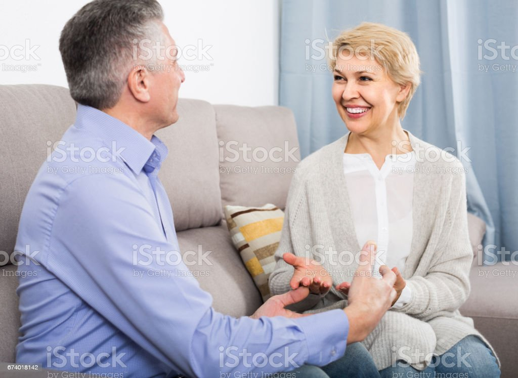 married couple understand and love each other and are happy in house royalty-free stock photo