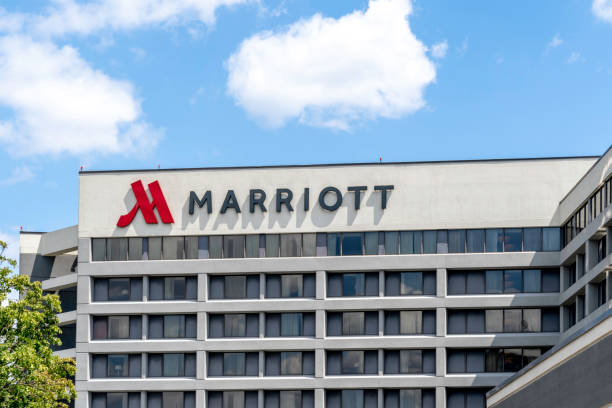 Marriott building near Pearson Airport in Mississauga, Ontario, Canada. stock photo