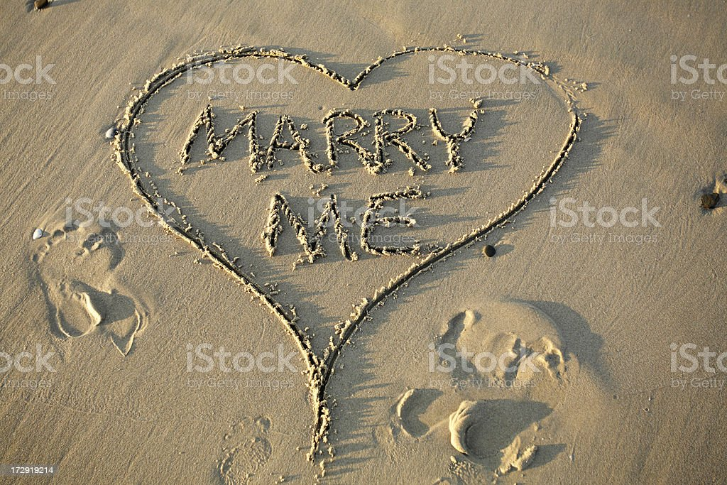 Marry Me Beach Words royalty-free stock photo
