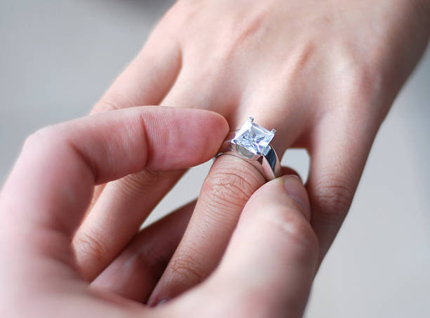 marry me - diamond ring hand stock photos and pictures