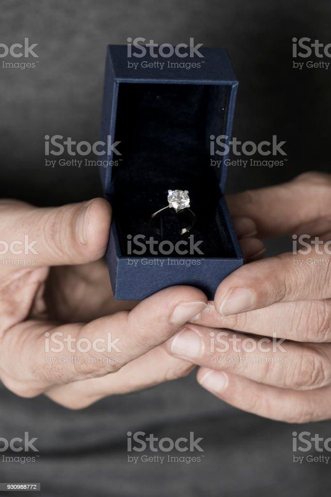 Man holding jewellery box.
