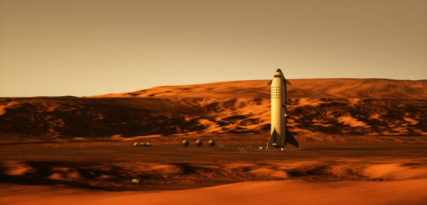 Mars colonization 3d rendering of a rocket landed on Mars. rover stock pictures, royalty-free photos & images