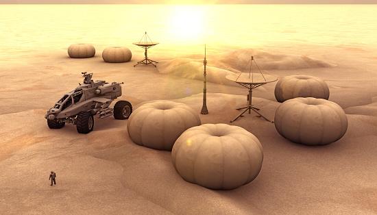 Mars Colony and Sunny Horizon