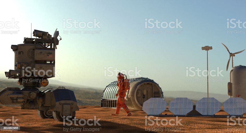 Mars colony. Expedition on alien planet. Life on Mars. 3d Illustration. stock photo