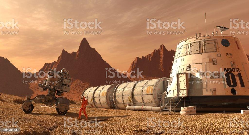 Colonia de Marte. Expedición en planeta alienígena. Vida en Marte. Ilustración 3D. - Foto de stock de Amarillo - Color libre de derechos