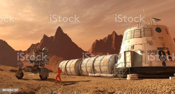 Colonia De Marte Expedición En Planeta Alienígena Vida En Marte Ilustración 3d Foto de stock y más banco de imágenes de Amarillo - Color
