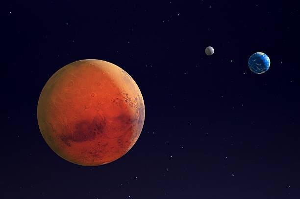 mars, earth and the moon. - mars bildbanksfoton och bilder