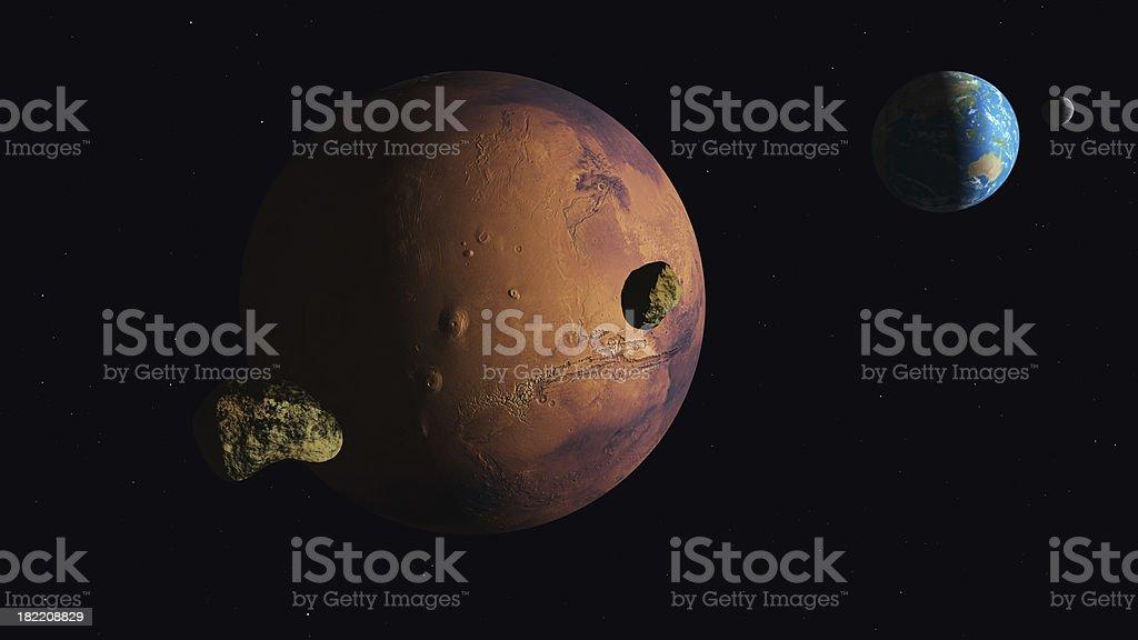 Mars Earth Moons stock photo