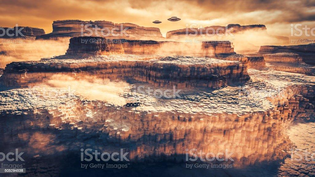 Mars exploration, flying UFO stock photo