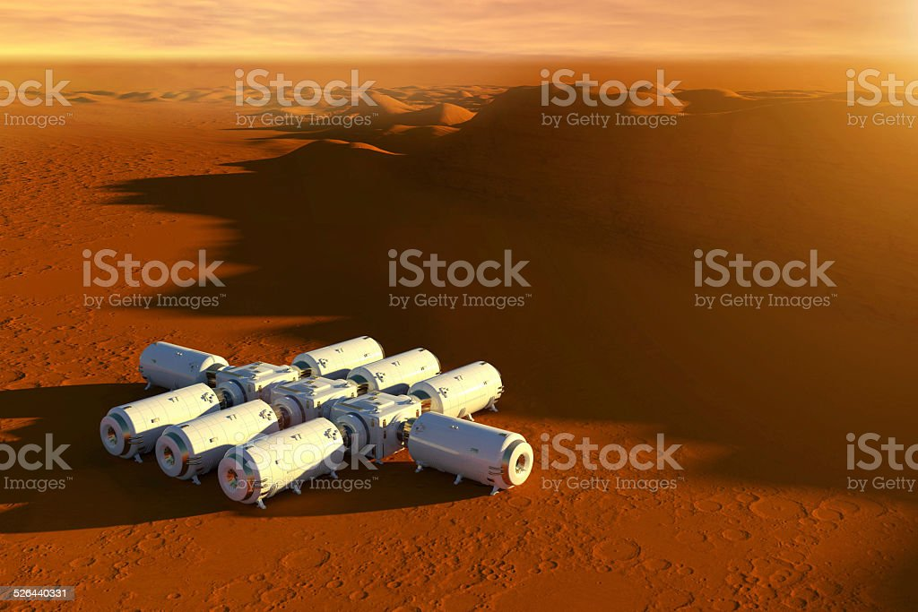 Mars exploration mission, spaceship and modules on red surface stock photo