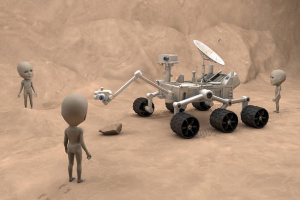 Mars Exploration Vehicle and Martians Mars exploration vehicle encounter Martian aliens. rover stock pictures, royalty-free photos & images