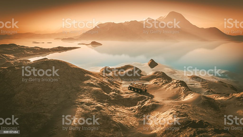 Mars exploration, water, landscape, rover stock photo