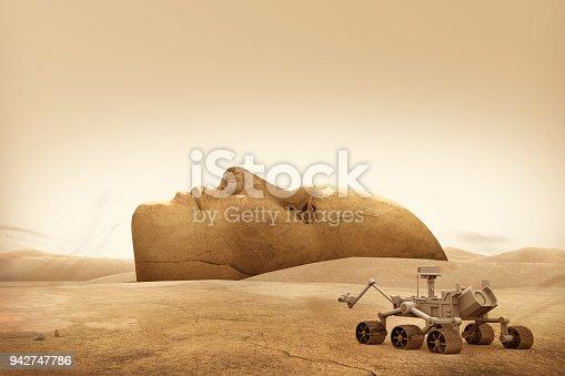 Mars explorer and landscape face.