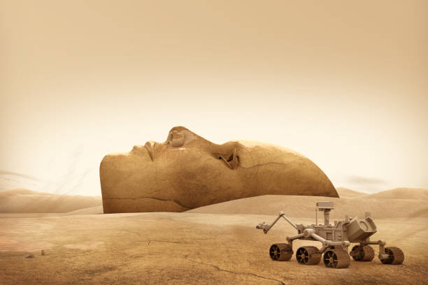 Mars Explorer and Landscape Face stock photo