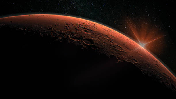 Mars high resolution image. Mars is a planet of the solar system. Sunrise with lens flare. Elements of this image furnished by NASA. stock photo