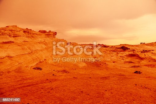 Martian view like red planet with arid landscape, rocky hills for space exploration and science fiction backgrounds