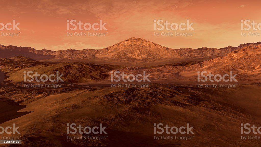 Mars like red planet landscape stock photo