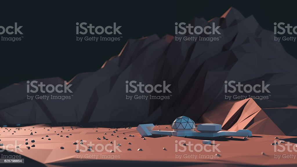 Mars Mission Base Camp stock photo