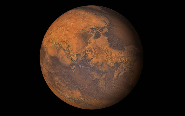 planète mars isolé en noir - venus photos et images de collection
