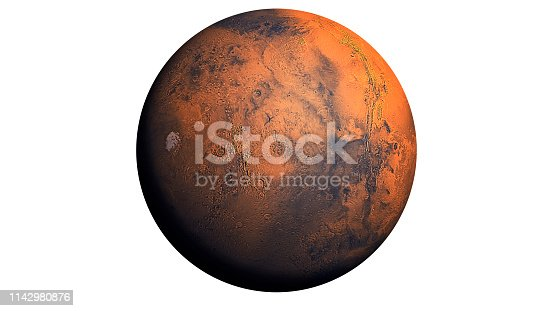 istock Mars Planet isolated in white 1142980876