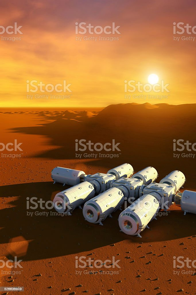 Mars planet space station, extraterrestrial exploration spaceship and modules stock photo
