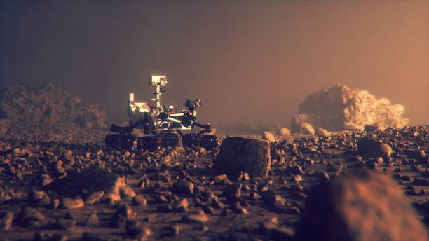 Mars Rover exploring on the planet surface stock photo