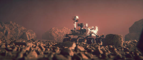 Mars Rover exploring on the planet surface Mars Rover exploring on the planet surface. rover stock pictures, royalty-free photos & images