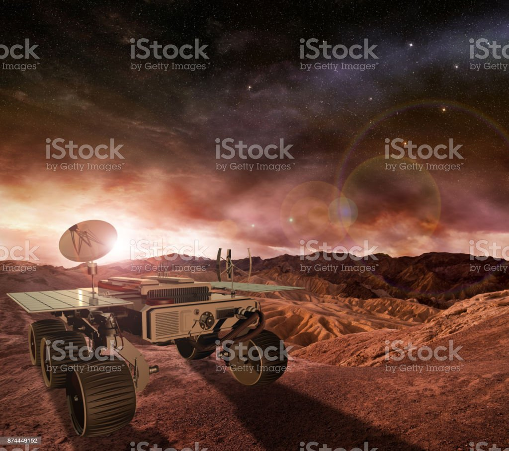 mars rover exploring planet surface stock photo
