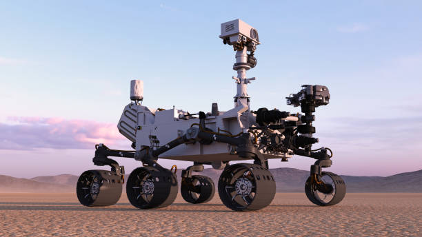 Mars Rover, robotic autonomous space vehicle on a deserted planet with hills in background, 3D render Mars Rover, robotic autonomous space vehicle on a deserted planet with hills in background, 3D rendering rover stock pictures, royalty-free photos & images