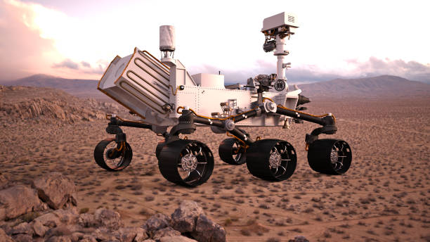 Mars Rover, robotic space autonomous vehicle on a deserted planet, rear view, 3D illustration Mars Rover, robotic space autonomous vehicle on a deserted planet, view from the rear, 3D illustration rover stock pictures, royalty-free photos & images