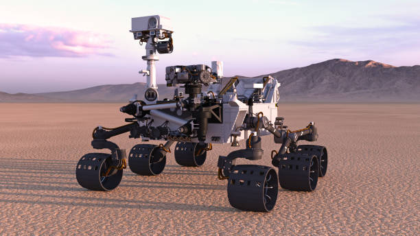 Mars Rover, robotic space autonomous vehicle on a deserted planet with mountains in background, 3D render Mars Rover, robotic space autonomous vehicle on a deserted planet with mountains in background, 3D rendering rover stock pictures, royalty-free photos & images